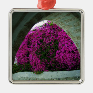 Purple flowers through an arch. christmas ornament