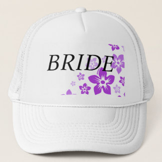 purple flowers trucker hat