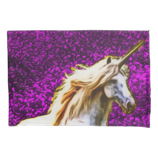 Purple Flowers Unicorn Art Nouveau Pillowcase