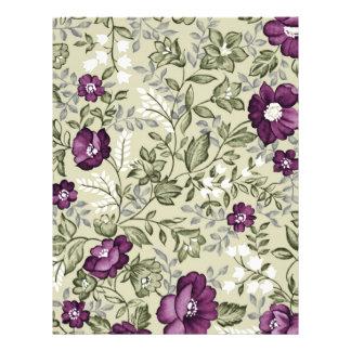 Purple Flowers Violets Background Leafy Floral Flyer