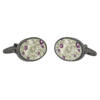 Purple Flowers Violets Background Leafy Floral Gunmetal Finish Cufflinks