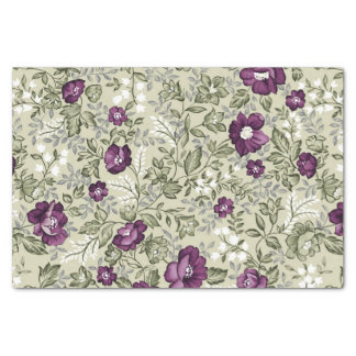 Purple Flowers Violets Background Leafy Floral Tissue Paper