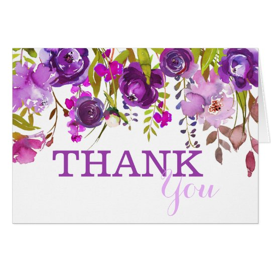 Purple Flowers Watercolor Floral Thank You Card
