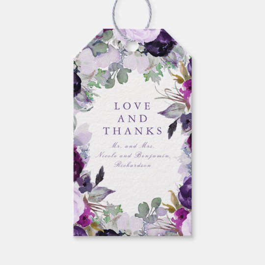 Purple Flowers Watercolor Gift Tags