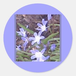 Purple flowers welcome Spring Round Sticker