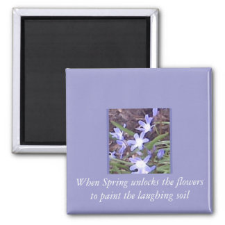 Purple flowers welcome Spring Square Magnet