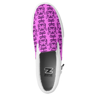 Purple Flying Heart Damask Slip On Shoes