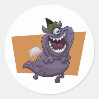 Purple Flying Monster Orange Square Classic Round Sticker