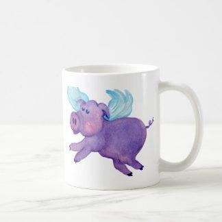 Purple Flying Pig Coffee Mug