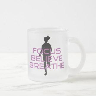 Purple Focus Believe Breathe Frosted Glass Mug