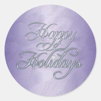 Purple Foil Happy Holidays Diamond Sticker