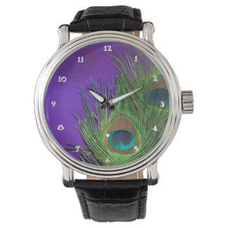 Purple Foil Peacock Watch