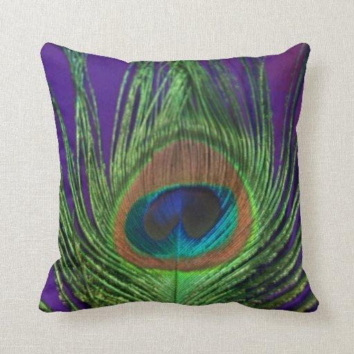 Purple Foil Single Peacock Throw Pillows