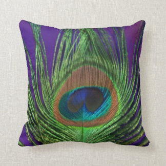 Purple Foil Single Peacock Throw Pillow