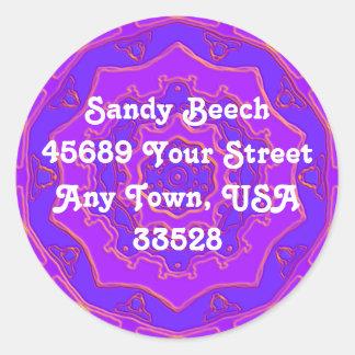 Purple Foil Spiral Round Sticker