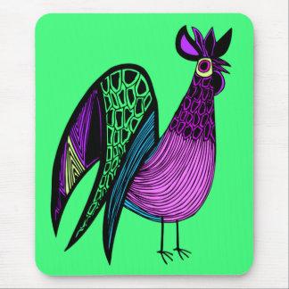 Purple Folk Art Rooster Mouse Mat
