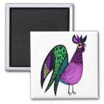 Purple Folk Art Rooster Square Magnet