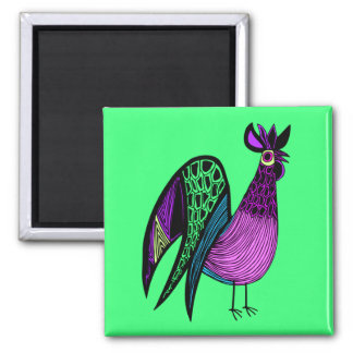 Purple Folk Art Rooster Square Magnet