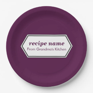 Purple Food Label Paper Plate