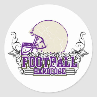 Purple Football Hardcore Tshirts and Gifts Round Sticker