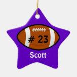 Purple Football Star Ornament