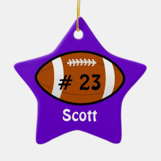 Purple Football Star Ornament