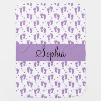 Purple Footprints and Hearts Baby Blanket