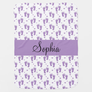 Purple Footprints and Hearts Buggy Blanket