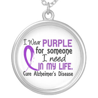 Purple For Someone I Need Alzheimer's Disease Silver Plated Necklace