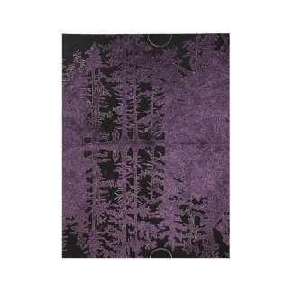 purple forest wooden poster, black forest reflect wood poster