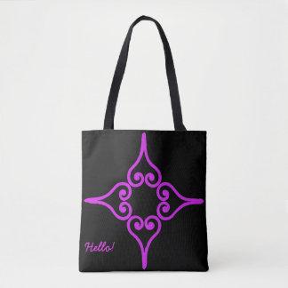 Purple Four Hearts Flower Pattern Tote Bag