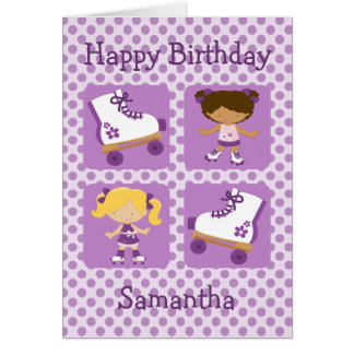 Purple Four Square Rollerskating Birthday Card