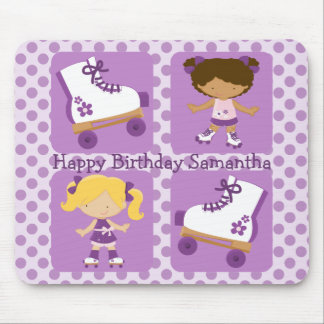 Purple Four Square Rollerskating Birthday Mouse Pad