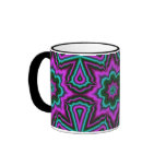 Purple Fractal Flower Mandala Mugs