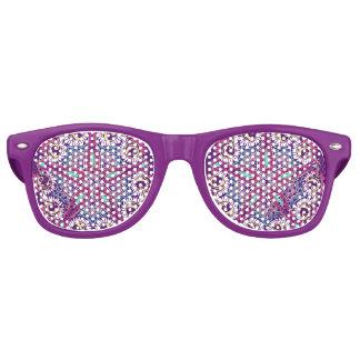 Purple fractal mandala floral ornament pattern retro sunglasses