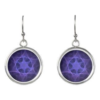 Purple Fractal Star Of David Earrings