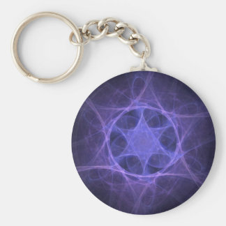 Purple Fractal Star Of David Key Ring