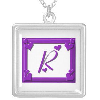 Purple Framed Monogram Letter R Square Pendant Necklace