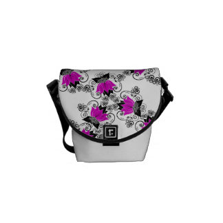 Purple French Damask Commuter Bags