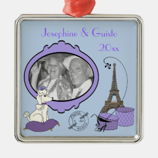 Purple French Themed Photo Keepsake Ornament