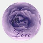 PURPLE Frilly Rose - Wedding Envelope Seal Round Sticker