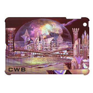 Purple Fringing Sphere Futuristic City  Monogram iPad Mini Cases