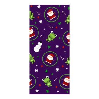 Purple frogs santa claus snowmen rack card