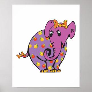 purple fruity elephant poster