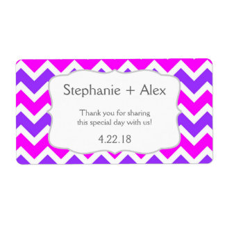 Purple Fuchsia Chevron Water Bottle customize it! Shipping Label