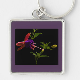 Purple Fuchsia Flower Key Ring