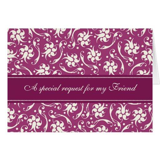 Purple Fuchsia Friend Bridesmaid Invitation Card