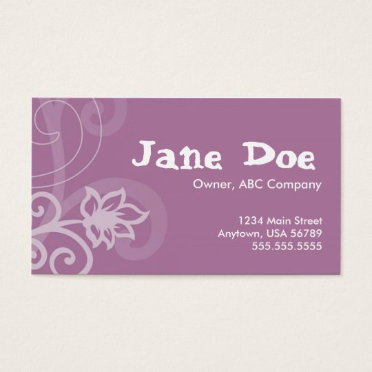 Purple full size business card