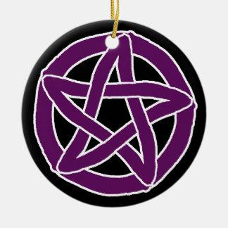 Purple Fun Pentacle Round Ceramic Decoration