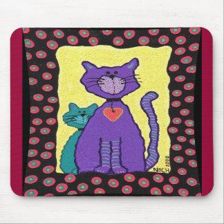 Purple Funky Cat & Kitty - mousepad